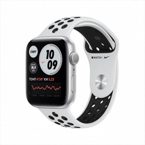 Смарт-часы Apple Watch Nike Series 6, 44 мм, корпус из алюминия серебристого цвета, спортивный ремешок Nike